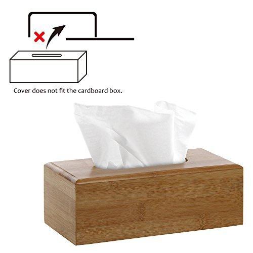 Decorative Beige Bamboo Facial Tissue Cover / Refillable Wooden Kitchen Napkin Holder & Dispenser