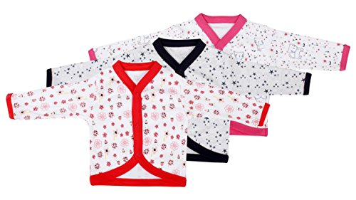 Baby Grow Full Sleeve Front Open Vest-Jhabla-Set Of 3 Tees For Boy/Girl(3-6M)
