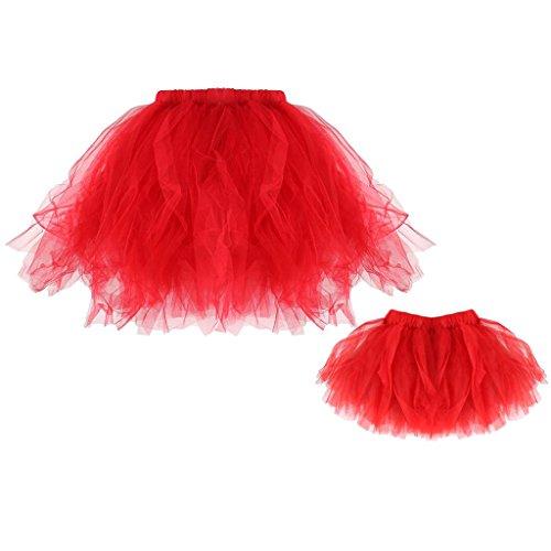 Gazechimp Frauen Mädchen Kinder Tutu Unterkleid Rock Abschlussball Abend Gelegenheit Zubehör - Rot, Mama und (Mama Halloween Outfit)