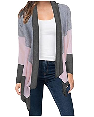 Tootlessly Women Slim Fit Cardigan Color Block Mid Long Knitted
