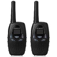 FLOUREON 2PCS Pack M-880 8 Channel Twin Walkie Talkies for Kids, 2-Way Radio 3KM Range Interphone LCD Backlit Display with Auto Channel Scan - Black