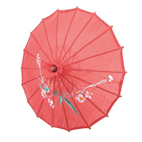 TOOGOO(R) Parasol Paraguas Oriental Chino 21 pulgada Diametro bambu tela roja impresion de flor