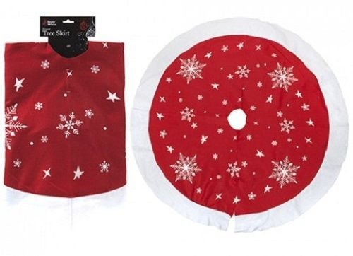Large Christmas Xmas Tree Skirt Base Cover Decoration Red with Snowflakes 90cm by PM