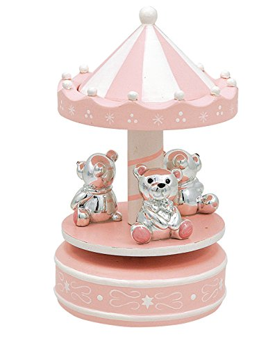 Giostrina che gira con carillon legno rosa con orsetti argentati e smaltati cm10x18 made in italy con scatola rifinita