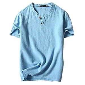 empresa mensajeria barata: Gusspower Camisa para Hombre, Lino Blusa Casual de Manga Corta Top Cuello V de C...
