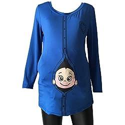 Juleya Embarazada Suave o-Cuello Divertido Estampado de Dibujos Animados bebé Mirando fijamente Ropa de Maternidad de Manga Larga Casual Camisetas Encantadoras Tops Azul L
