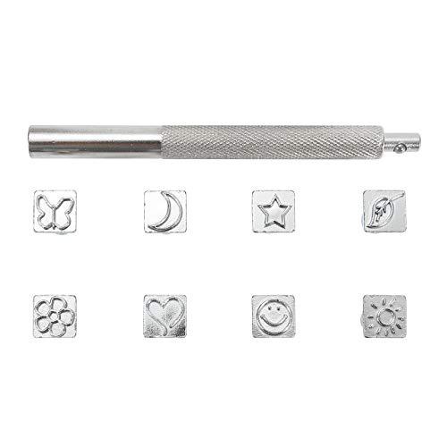 Mogokoyo 6-teiliges Lederstempel-Set, verschiedene Formen, 8 mm Sattelherstellung, Werkzeug, Lederhandwerk, Schnitzen, Prägen, Stempelset für DIY handgemachte Kunst Arbeiten (Personalisierte Signatur-schmuck)