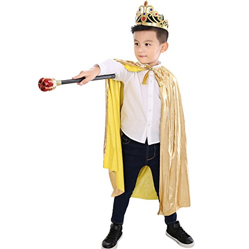 GWELL Prinz Prinzessin Umhang Cape Kostüm für Kinder Königskostüm mit Krone Halloween Karneval Party Cosplay gold