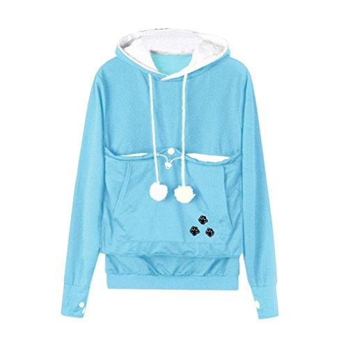 Sweat-Shirt Sweats À Capuche Kangourou Animal Chien Chat Femme, QinMM Transporteur Manteau Poche Grande Poche Pull À Manches Longues Bleu clair