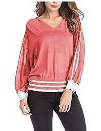 FuweiEncore Camiseta de Rayas Sueltas para Mujer Camisetas de Punto con Cuello en V Camisas Tops Blusas Sudadera Camisa de túnica…