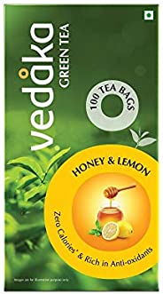 Amazon Brand - Vedaka Green Tea, Lemon and Honey, (100 Bags)