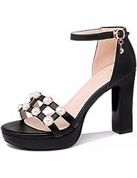 GTVERNH Mujer Zapatos/Gruesa De 10Cm De Tacon Zapatos De Tacon Alto Hembra Medio Tacón Pequeña Plataforma Fresca...