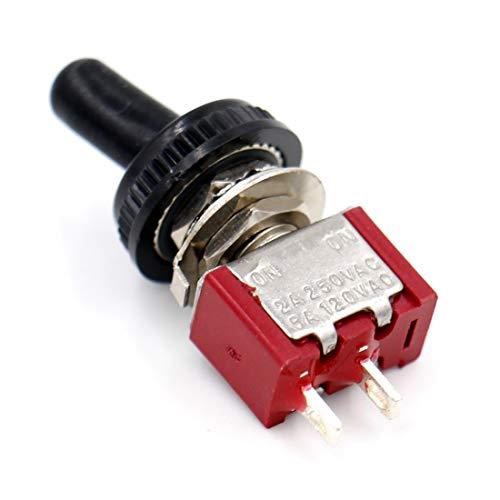 5 Stück Heschen Miniatur-Kippschalter MTS-101 ON-ON SPDT 2-polig, 2A 250V, 5A 120V, UR gelistet, mit wasserdichter Kappe -