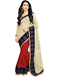 b4c34614628bd8 Craftsvilla Women's Georgette Embroidered Traditional Beige Red Saree with Blouse  piece