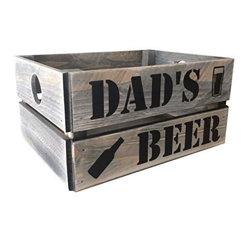 Dads Beer Crate Vintage Style Rustic Grey Wooden Gift Crate **FREE POSTAGE**