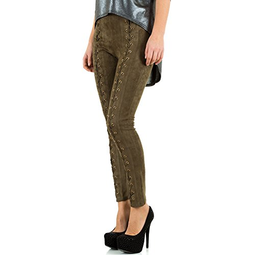 Velouroptik Skinny Hose Für Damen bei Ital-Design Khaki
