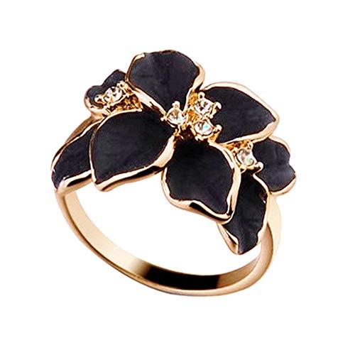 Bague femme à diamants Bague camélia Bague fleur tressée à grappes de femme, jolie bague perle de fleur blanche boucles d'oreilles rondes design de mode engagement(18MM)
