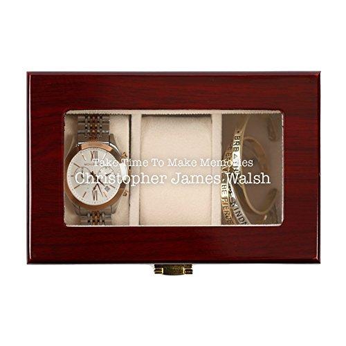 Personalisierte Direct Herren 's Custom Erinnerungen 3Slot Cherry Finish Holz Watch Fall - Custom Finish Holz