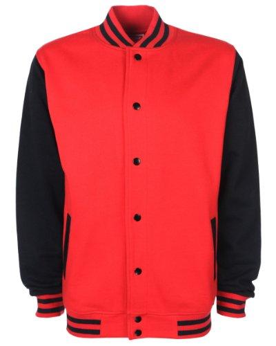FDM Unisex College-Jacke, kontrastfarbene Ärmel rot/schwarz (Fire RedBlack)