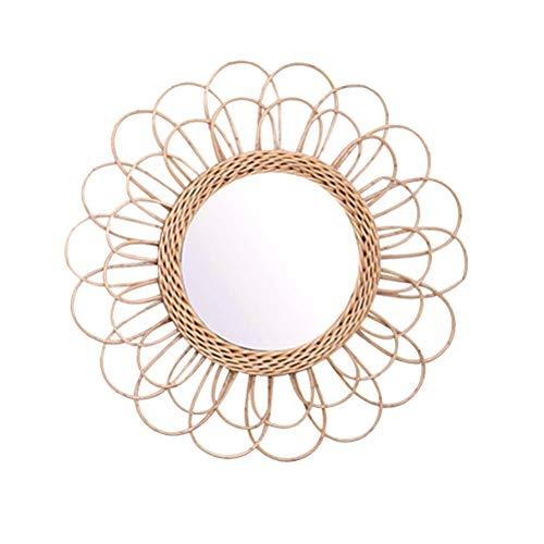 Macabolo Espejo Colgante, 40 cm, Girasol de ratán, Espejo de Pared Circular, decoración...