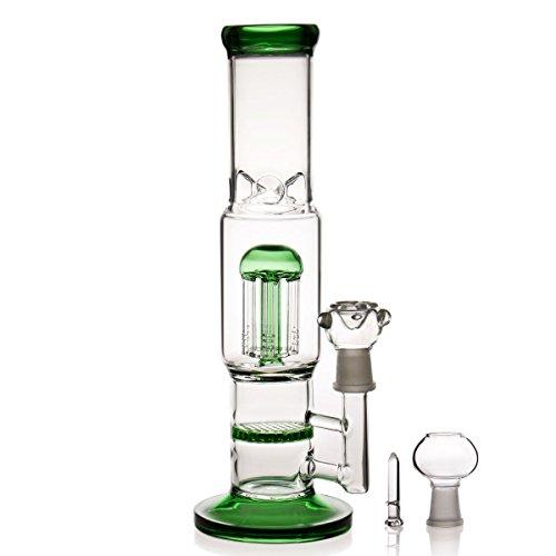 glss bong Bong Glasbongs Recycler Oil Rig Bong Grün 30cm/12in und 14.4mm Schüssel Zubehör Bong Chape Wasserglas Bong Wasserpfeifen Bongs water hookahs bongs