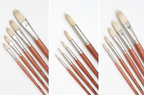 Meister Ölmalpinsel Größen 2, 6, 10, 14 + 18, jeweils in rund, Zunge und flacher Spitze, Pinselset mit 15 Künstlerpinsel