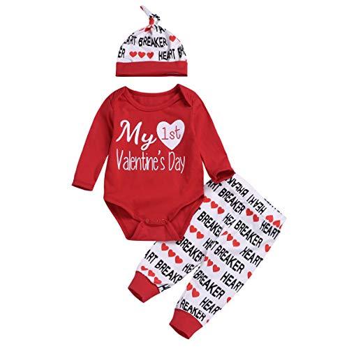Baby Mädchen 3 Stücke My 1st Valentine's Day kleine Prinzessin Strampler Herz Hosen Set mit Hut Kleidung Outfit für 0-18 Monate (90cm) ()