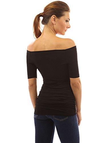 PattyBoutik femmes top manches 3/4 épaules nues Noir
