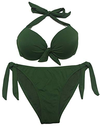 EONAR Damen Seitlich Gebunden Bikini-Sets Abnehmbar Bademode Push-up-Bikinioberteil mit Nackenträger(XL,Army Green)