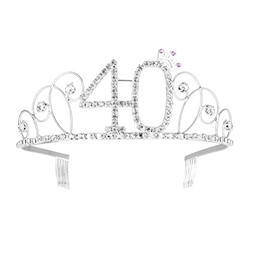 Happy Birthday 40th Silver Crystal Tiara Crown