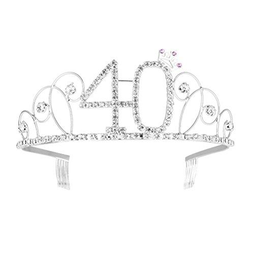 Happy Birthday 40th Silver Crystal Tiara Crown