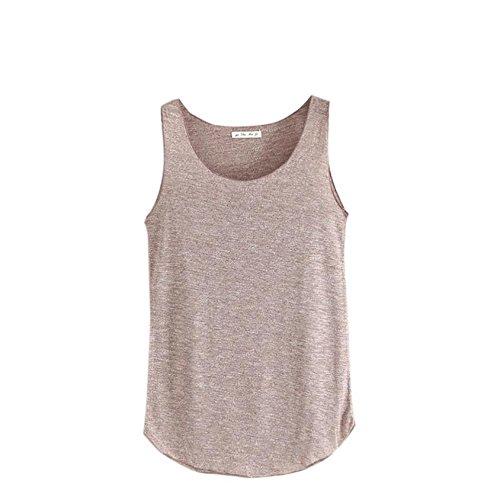 Damen Tanktops FORH Fashion Einfachheit Frauen Ärmellose Weste Sexy V Ausschnitt Sommer T-Shirt Loose Neckholder Crop Top Sport Tank Oberteile (Braun) (Kragen Einfachheit Eine)