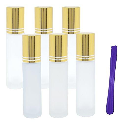 6, 10ml Glas-Flaschen mit Edelstahl Rollerball–Nachfüllbar ätherisches Öl Golden auf Rolle Flaschen mit Deckel öffner Pry Tool–Ideal für Aromatherapie, Parfüm von jamhoodirect