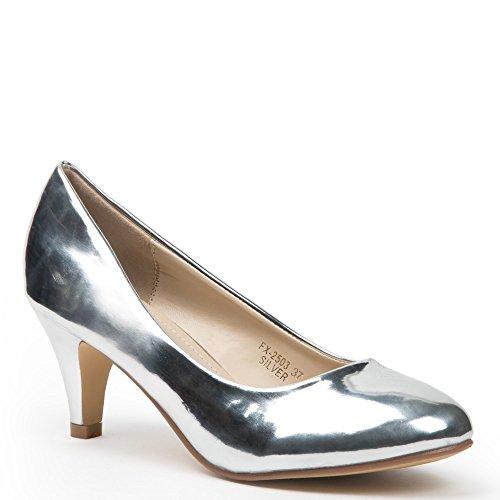 Ideal Shoes–Scarpe décolleté verniciate Karina Argento