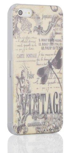 JAMMYLIZARD   Back Cover Hülle für [ iPhone 5 / 5s und iPhone SE ] mit Vintage Muster, BLAUER EIFFELTURM LIBELLENMOTIV