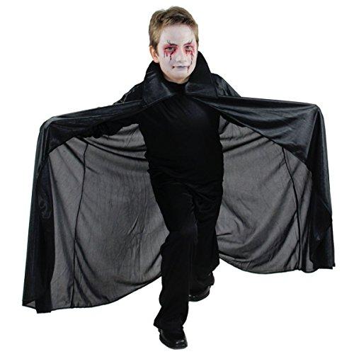 Foxxeo schwarzer Vampir Umhang für Kinder - Größe 152 bis 170 - Vampirkostüm Dracula Cape Kinderkostüm Größe 164-170