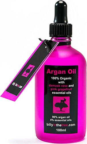 Billy in the Tree - Pure huile d'argan avec huiles essentielles de Rose musquée et Pamplemousse Rose - 100% Organique - Pour le visage, le corps, les cheveux - 100ml