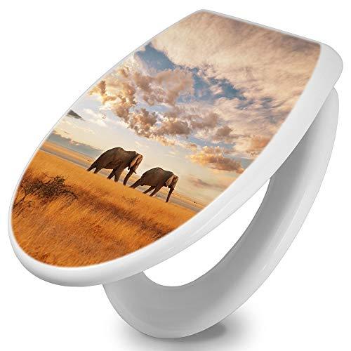 banjado Toilettendeckel mit Absenkautomatik | WC Sitz 42cm x 4cm x 37cm | Klodeckel weiß | Klobrille mit Edelstahl Scharnieren | Toilettensitz mit Motiv Elefanten