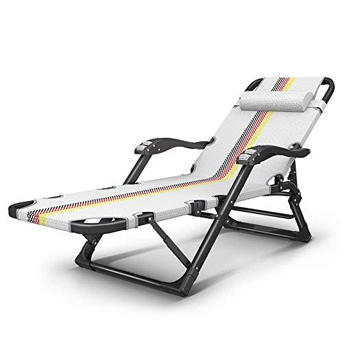 ACZZ Liegestuhl Lounge Stühle, Patio Lounge Stühle Sling Chaise Lounges Recliner Patio Möbel W/Verstellbare Rücken- und Fußstütze 440Lbs,Ohne Kissen - Sling Patio Möbel