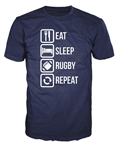 Eat Sleep Rugby Repeat Funny T-shirt (XXL, Navy Blue)