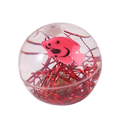 Junlinto, Kinder Fisch Prellen Glow Ball Spielzeug Transparente Kristall Elastische Kugel Rot blinkend