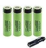 4-Pcs 3400mAh Genuino NCR18650B 3.7V 18650 recargable Li-ion Batería + Linterna LED Kit