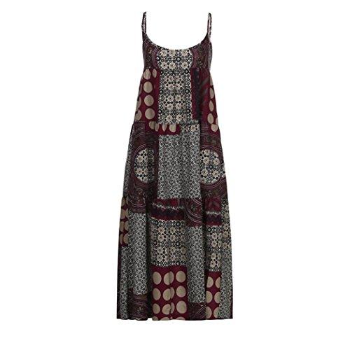 lose Leinen Riemchen Lose Bohe Print Langes Kleid Plus Größe (Rot, 5X) (Plus Größen Fancy Kleid)