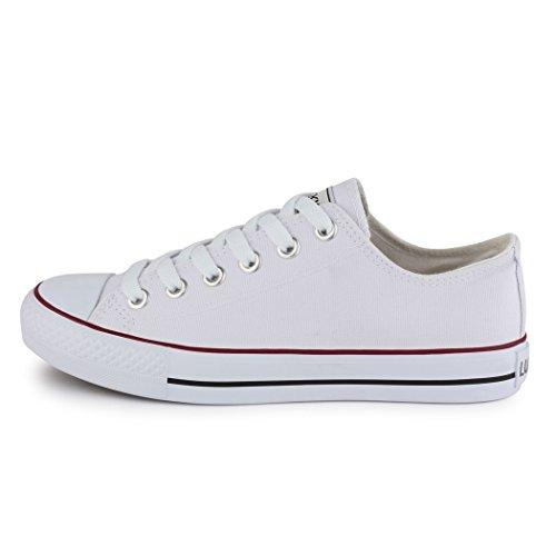 Sneakers best-boots da donna scarpe da ginnastica atletica scarpe Cords Slipper Bianco (bianco)