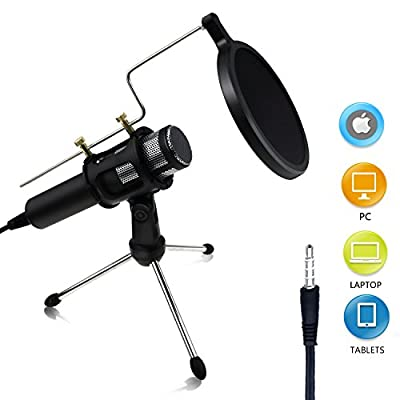 Buluri Condenser Microphone Recording Professional Home Studio Microphone 3.5mm Plug &Play for Cellphones, Laptop, Computer, PC, Youtube, Facebook Live Stream (Microphone Sets)