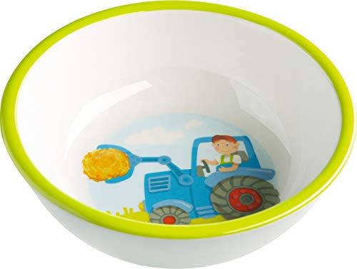 HABA 302819 - Schüssel Traktor, rutschfeste Kinderschüssel aus Melamin mit Traktormotiv, spülmaschinengeeignet (Fun Müsli Schalen)