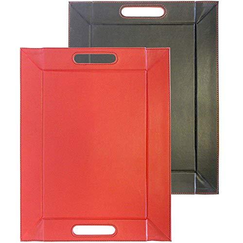 FreeForm Mini plateau Imitation cuir Réversible Noir/rouge 40 x 28 cm