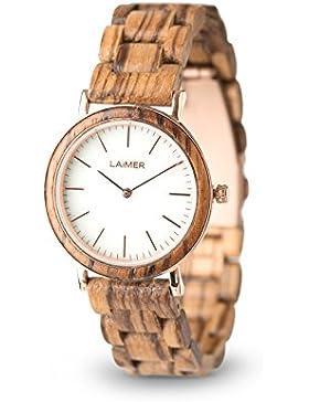 LAiMER Holzuhr LEONA - Damen Armbanduhr aus 100% Zebranoholz und Zifferblatt aus weißem Marmor für einzigartige...