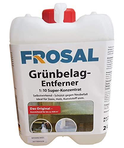 Frosal Grünbelag-Entferner Algenentferner Moosentferner | Grünbelagentferner | Entmooser Stein-Reiniger 2 Liter Konzentrat 1 :10