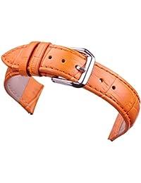 20mm naranja amarillo reloj de cuero banda de reemplazo de correas para las mujeres genuina piel de ternera de grano cocodrilo